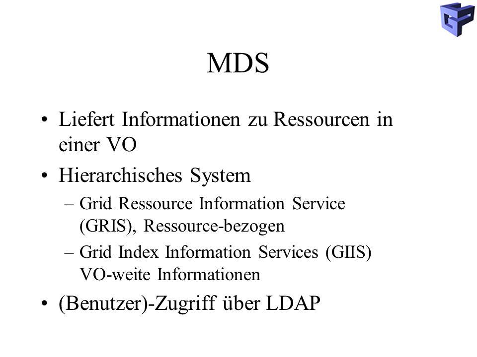 MDS Liefert Informationen zu Ressourcen in einer VO Hierarchisches System –Grid Ressource Information Service (GRIS), Ressource-bezogen –Grid Index Information Services (GIIS) VO-weite Informationen (Benutzer)-Zugriff über LDAP