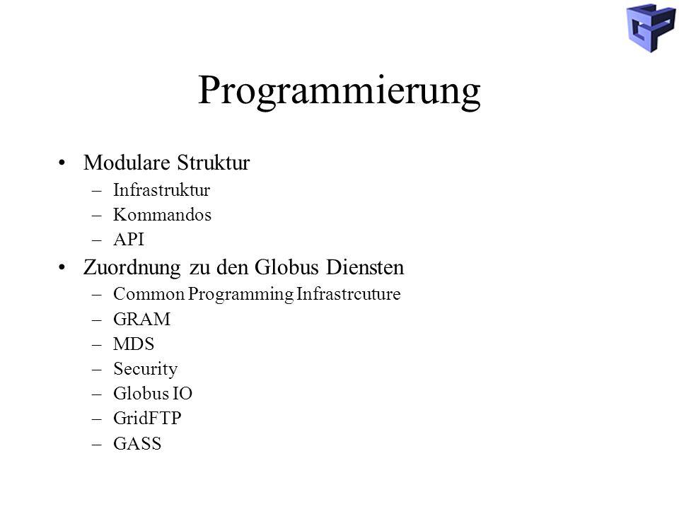 Programmierung Modulare Struktur –Infrastruktur –Kommandos –API Zuordnung zu den Globus Diensten –Common Programming Infrastrcuture –GRAM –MDS –Security –Globus IO –GridFTP –GASS