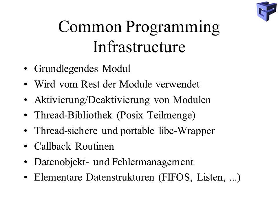 Common Programming Infrastructure Grundlegendes Modul Wird vom Rest der Module verwendet Aktivierung/Deaktivierung von Modulen Thread-Bibliothek (Posix Teilmenge) Thread-sichere und portable libc-Wrapper Callback Routinen Datenobjekt- und Fehlermanagement Elementare Datenstrukturen (FIFOS, Listen,...)