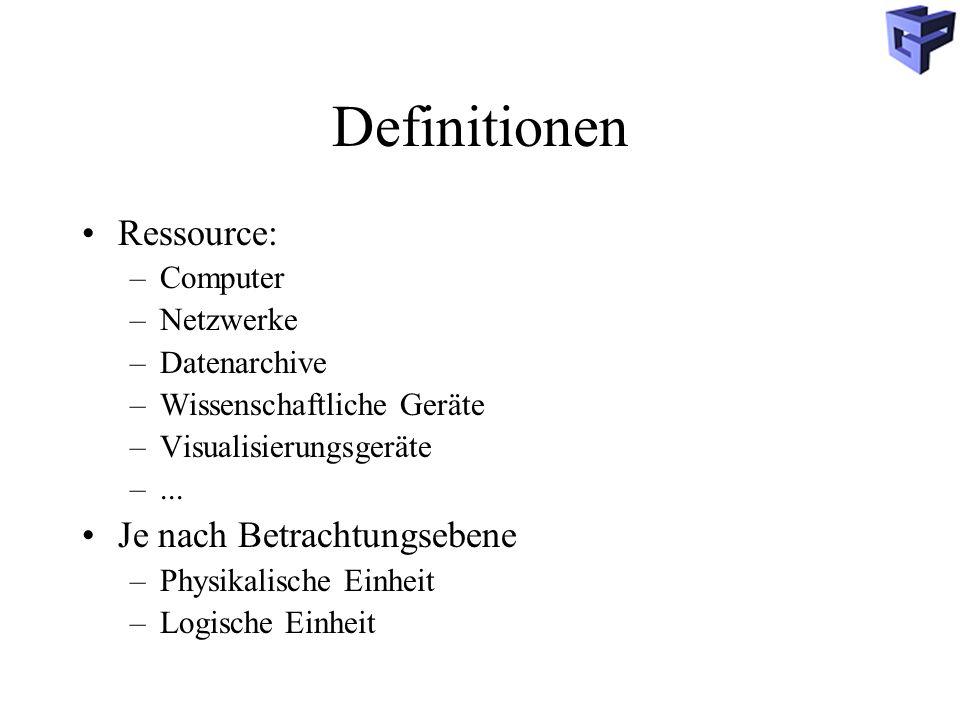 Definitionen Ressource: –Computer –Netzwerke –Datenarchive –Wissenschaftliche Geräte –Visualisierungsgeräte –...