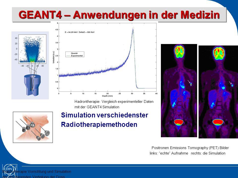 GEANT4 – Anwendungen in der Medizin Simulation verschiedenster Radiotherapiemethoden Positronen Emissions Tomography (PET) Bilder links: echte Aufnahme rechts: die Simulation Brachytherapie Vorrichtung und Simulation der resultierenden Verteilung der Dosis Hadrontherapie: Vergleich experimenteller Daten mit der GEANT4 Simulation