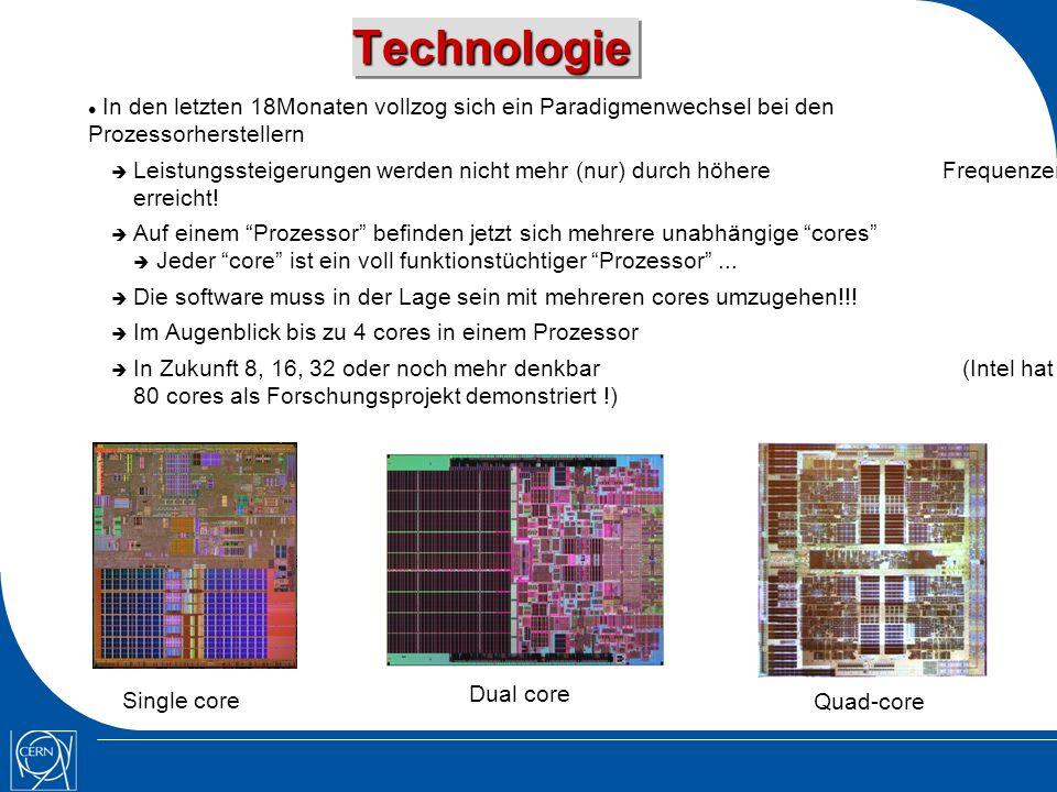 TechnologieTechnologie In den letzten 18Monaten vollzog sich ein Paradigmenwechsel bei den Prozessorherstellern Leistungssteigerungen werden nicht mehr (nur) durch höhere Frequenzen erreicht.