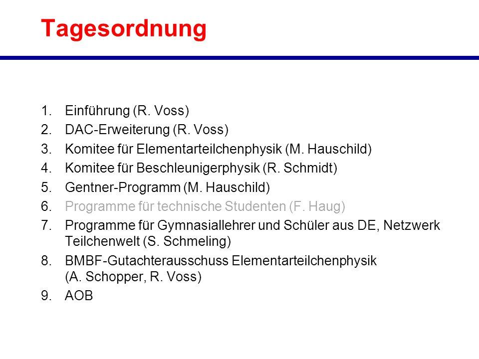 Tagesordnung 1.Einführung (R. Voss) 2.DAC-Erweiterung (R. Voss) 3.Komitee für Elementarteilchenphysik (M. Hauschild) 4.Komitee für Beschleunigerphysik