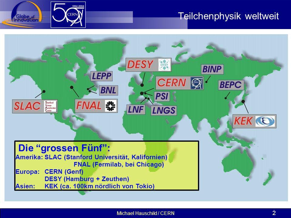 Michael Hauschild / CERN 2 Teilchenphysik weltweit Die grossen Fünf: Amerika:SLAC (Stanford Universität, Kalifornien) FNAL (Fermilab, bei Chicago) Eur