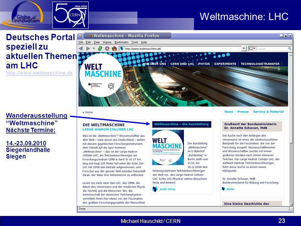 Michael Hauschild / CERN 23 Weltmaschine: LHC Deutsches Portal speziell zu aktuellen Themen am LHC http://www.weltmaschine.de Wanderausstellung Weltma