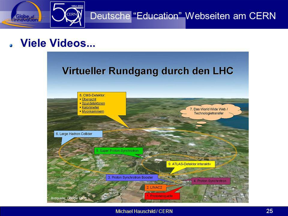 Michael Hauschild / CERN 25 Deutsche Education Webseiten am CERN Viele Videos...