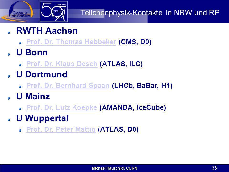 Michael Hauschild / CERN 33 Teilchenphysik-Kontakte in NRW und RP RWTH Aachen Prof. Dr. Thomas HebbekerProf. Dr. Thomas Hebbeker (CMS, D0) U Bonn Prof