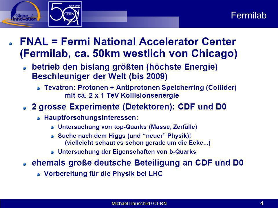 Michael Hauschild / CERN 4 Fermilab FNAL = Fermi National Accelerator Center (Fermilab, ca. 50km westlich von Chicago) betrieb den bislang größten (hö
