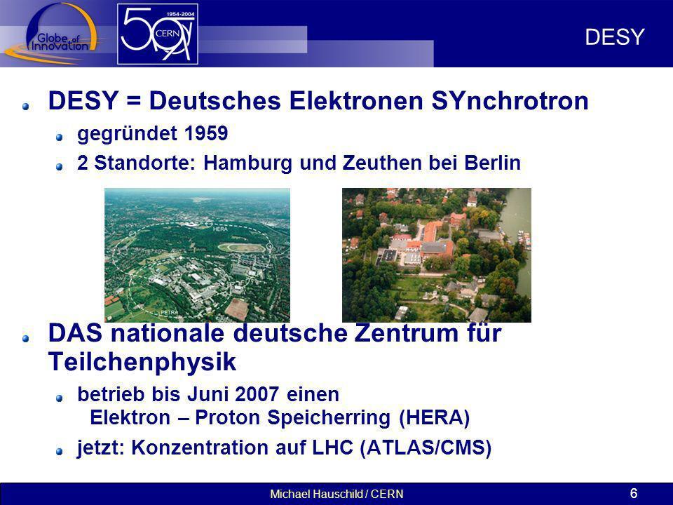 Michael Hauschild / CERN 6 DESY DESY = Deutsches Elektronen SYnchrotron gegründet 1959 2 Standorte: Hamburg und Zeuthen bei Berlin DAS nationale deuts