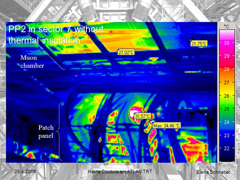 Elena Schnabel 25.4.2008Haute Couture am ATLAS TRT Loesung Mehrere Moeglichkeiten wurden getestet (cooling fluid temperature decrease, voltage tuning, additional cooling, thermal isolation...) Entscheidung fuer thermische Isolierung Abkuehlung von 32.2°C auf 23.4°C