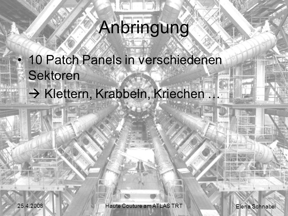 Elena Schnabel 25.4.2008Haute Couture am ATLAS TRT Anbringung 10 Patch Panels in verschiedenen Sektoren Klettern, Krabbeln, Kriechen …