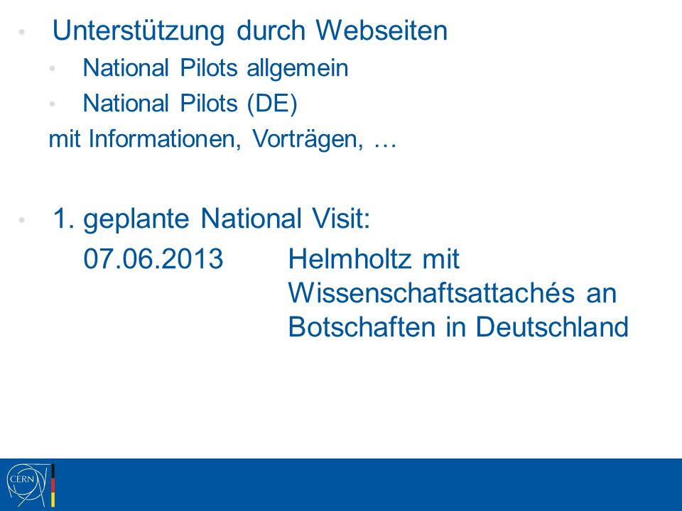 Unterstützung durch Webseiten National Pilots allgemein National Pilots (DE) mit Informationen, Vorträgen, … 1.