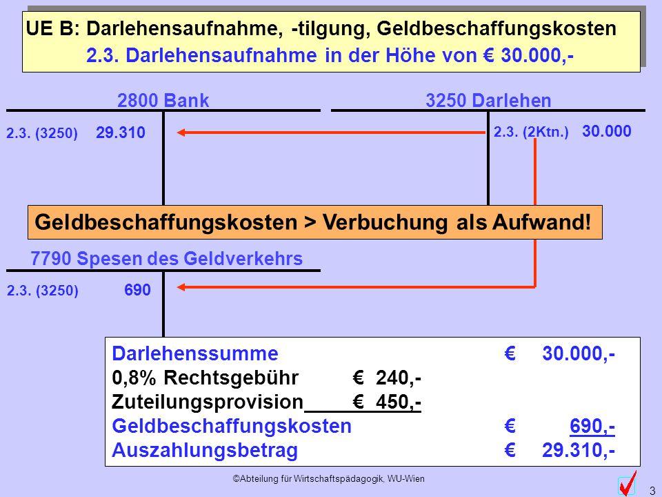 ©Abteilung für Wirtschaftspädagogik, WU-Wien 3 2.3. Darlehensaufnahme in der Höhe von 30.000,- Darlehenssumme 30.000,- 0,8% Rechtsgebühr 240,- Zuteilu