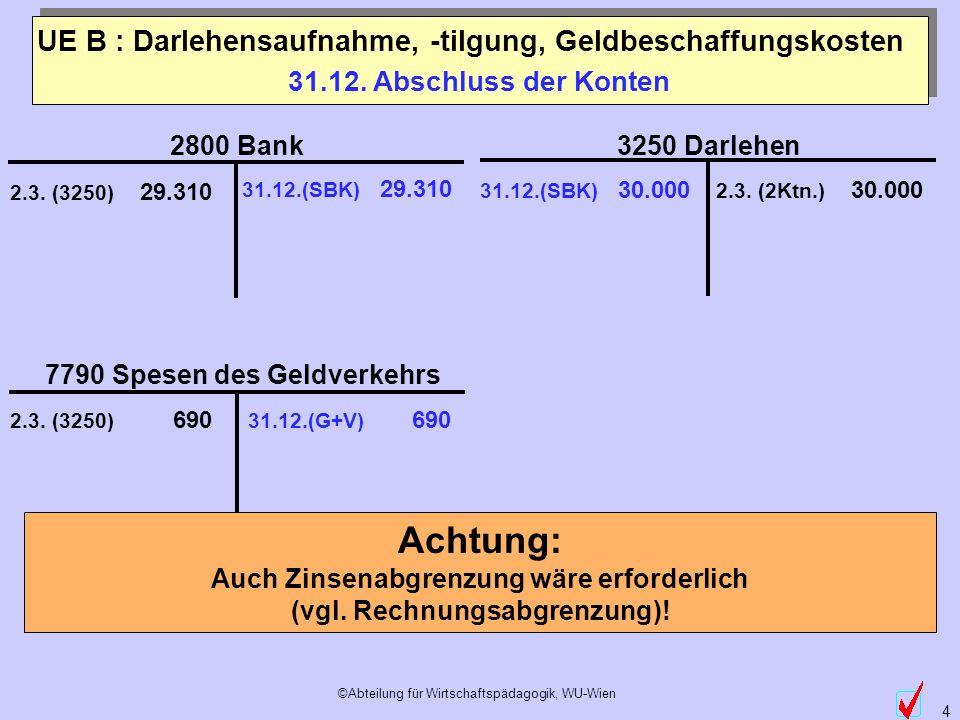 ©Abteilung für Wirtschaftspädagogik, WU-Wien 4 31.12. Abschluss der Konten 31.12.(SBK) 29.310 31.12.(SBK) 30.000 31.12.(G+V) 690 UE B : Darlehensaufna