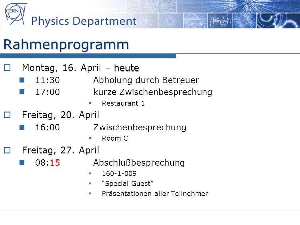 Rahmenprogramm heute Montag, 16.