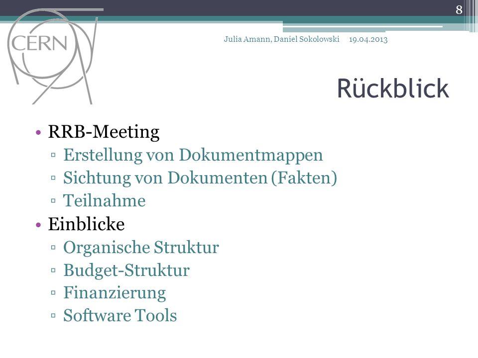 Rückblick RRB-Meeting Erstellung von Dokumentmappen Sichtung von Dokumenten (Fakten) Teilnahme Einblicke Organische Struktur Budget-Struktur Finanzierung Software Tools Vielen Dank.