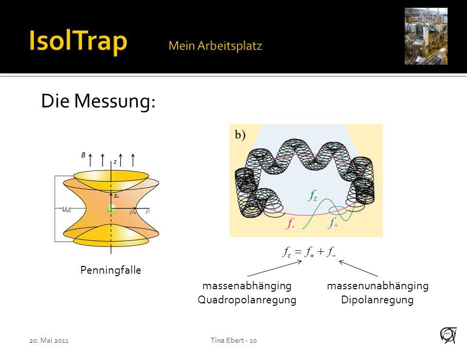 20. Mai 2011Tina Ebert - 10 Die Messung: massenunabhänging Dipolanregung massenabhänging Quadropolanregung Penningfalle