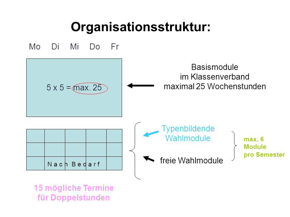 15 mögliche Termine für Doppelstunden Basismodule im Klassenverband maximal 25 Wochenstunden Typenbildende Wahlmodule freie Wahlmodule Mo Di Mi Do Fr 5 x 5 = max.