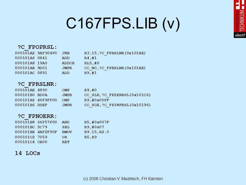 (c) 2006 Christian V. Madritsch, FH Kärnten C167FPS.LIB (v) ?C_FPOPRSL: 000101A2 9AF304F0 JNB R3.15,?C_FPRSLNR(0x101AE) 000101A6 0841 ADD R4,#1 000101