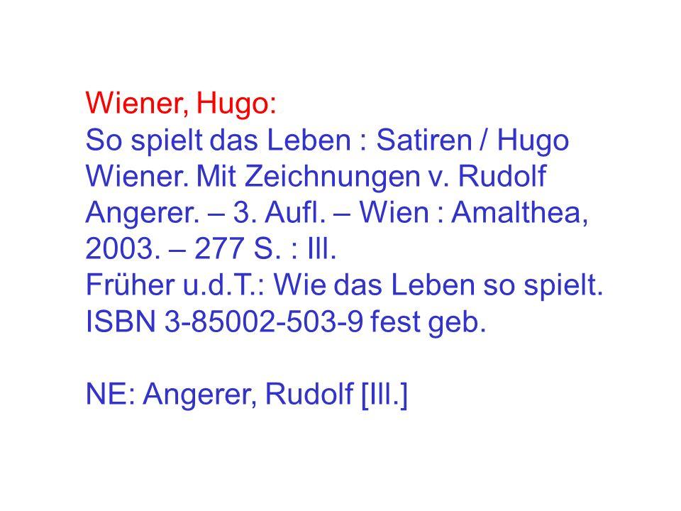 Wiener, Hugo: So spielt das Leben : Satiren / Hugo Wiener.