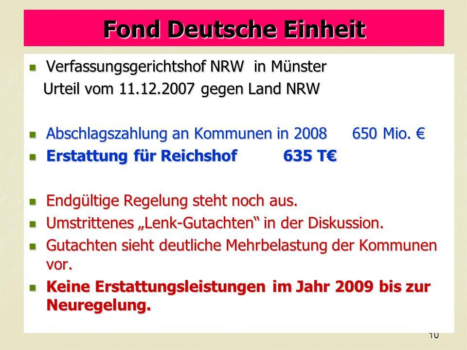 10 Fond Deutsche Einheit Verfassungsgerichtshof NRW in Münster Verfassungsgerichtshof NRW in Münster Urteil vom 11.12.2007 gegen Land NRW Urteil vom 11.12.2007 gegen Land NRW Abschlagszahlung an Kommunen in 2008 650 Mio.