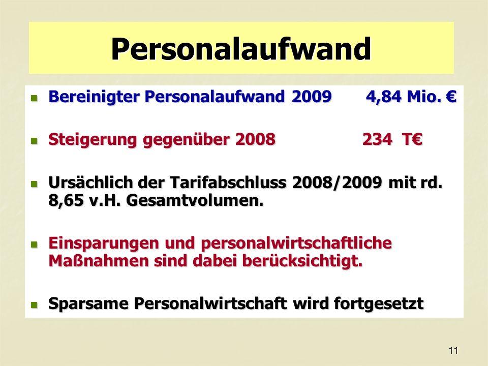 11 Personalaufwand Bereinigter Personalaufwand 2009 4,84 Mio.