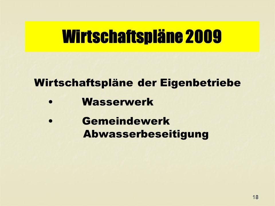 18 Wirtschaftspläne 2009 Wirtschaftspläne der Eigenbetriebe Wasserwerk Gemeindewerk Abwasserbeseitigung