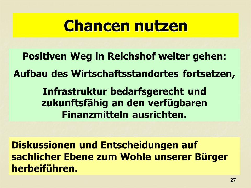 27 Chancen nutzen Positiven Weg in Reichshof weiter gehen: Aufbau des Wirtschaftsstandortes fortsetzen, Infrastruktur bedarfsgerecht und zukunftsfähig an den verfügbaren Finanzmitteln ausrichten.