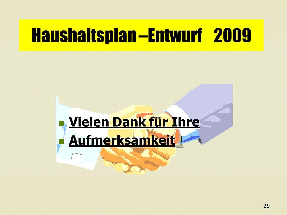 29 Haushaltsplan –Entwurf 2009 Vielen Dank für Ihre Vielen Dank für Ihre Aufmerksamkeit .