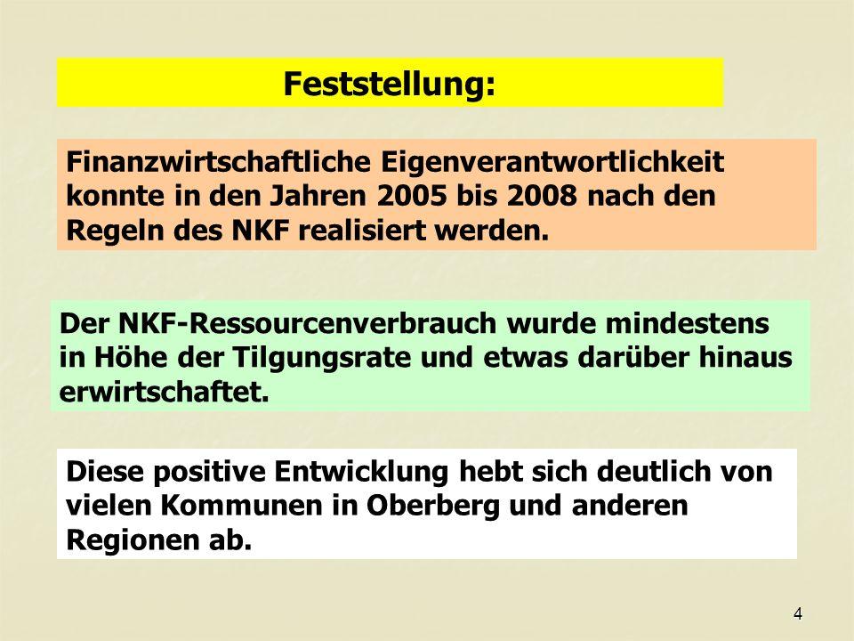 4 Feststellung: Finanzwirtschaftliche Eigenverantwortlichkeit konnte in den Jahren 2005 bis 2008 nach den Regeln des NKF realisiert werden.