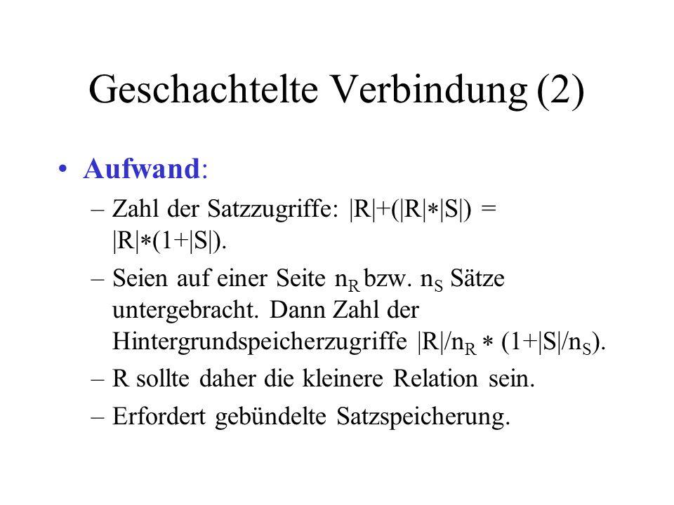 Geschachtelte Verbindung (2) Aufwand: –Zahl der Satzzugriffe: |R|+(|R| |S|) = |R| (1+|S|). –Seien auf einer Seite n R bzw. n S Sätze untergebracht. Da
