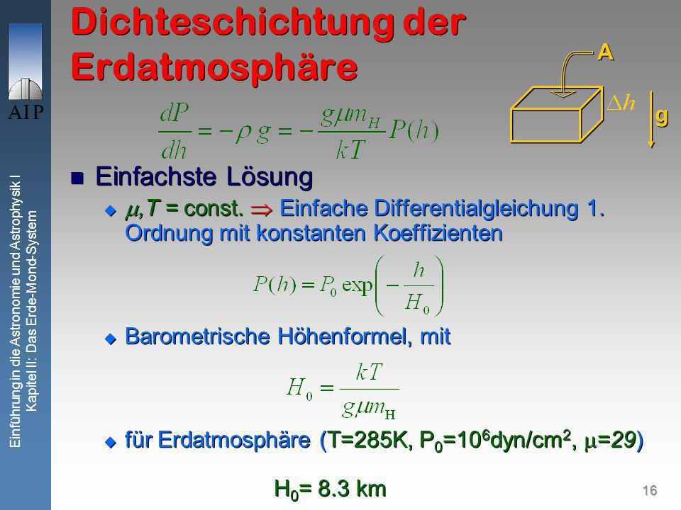 16 Einführung in die Astronomie und Astrophysik I Kapitel II: Das Erde-Mond-System Dichteschichtung der Erdatmosphäre Einfachste Lösung,T = const.