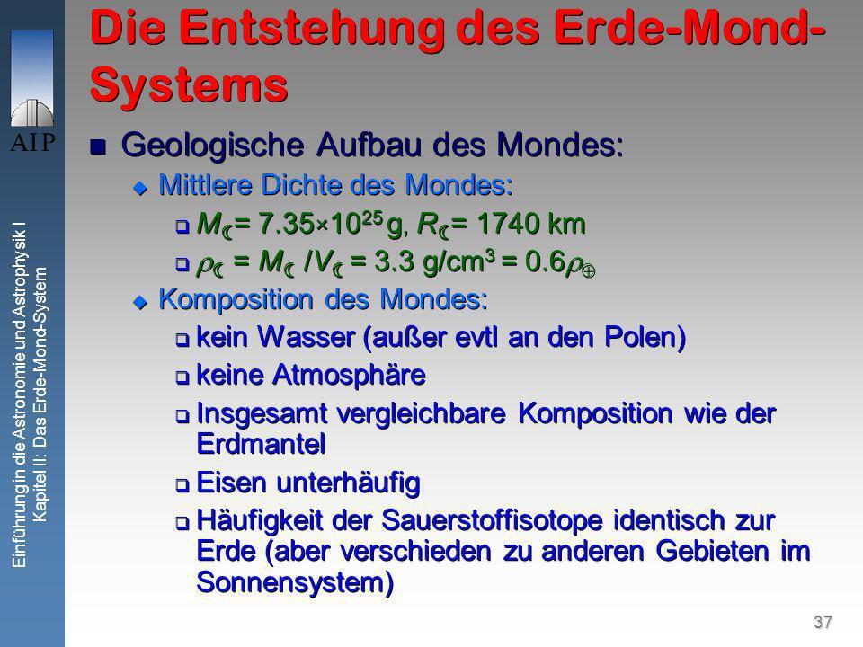 37 Einführung in die Astronomie und Astrophysik I Kapitel II: Das Erde-Mond-System Die Entstehung des Erde-Mond- Systems Geologische Aufbau des Mondes: Mittlere Dichte des Mondes: M = 7.35 × 10 25 g, R = 1740 km = M /V = 3.3 g/cm 3 = 0.6 Komposition des Mondes: kein Wasser (außer evtl an den Polen) keine Atmosphäre Insgesamt vergleichbare Komposition wie der Erdmantel Eisen unterhäufig Häufigkeit der Sauerstoffisotope identisch zur Erde (aber verschieden zu anderen Gebieten im Sonnensystem) Geologische Aufbau des Mondes: Mittlere Dichte des Mondes: M = 7.35 × 10 25 g, R = 1740 km = M /V = 3.3 g/cm 3 = 0.6 Komposition des Mondes: kein Wasser (außer evtl an den Polen) keine Atmosphäre Insgesamt vergleichbare Komposition wie der Erdmantel Eisen unterhäufig Häufigkeit der Sauerstoffisotope identisch zur Erde (aber verschieden zu anderen Gebieten im Sonnensystem)