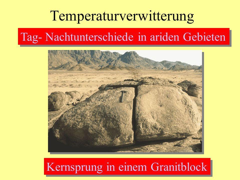 Temperaturverwitterung Tag- Nachtunterschiede in ariden Gebieten Kernsprung in einem Granitblock