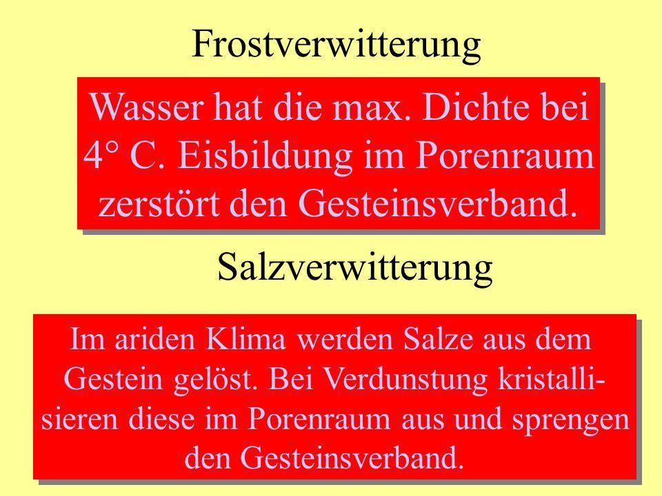 Frostverwitterung Wasser hat die max. Dichte bei 4° C. Eisbildung im Porenraum zerstört den Gesteinsverband. Wasser hat die max. Dichte bei 4° C. Eisb