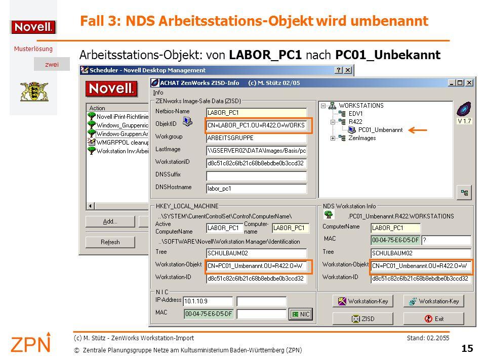 © Zentrale Planungsgruppe Netze am Kultusministerium Baden-Württemberg (ZPN) Musterlösung Stand: 02.2055 15 (c) M.