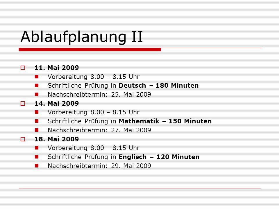 Ablaufplanung II 11.