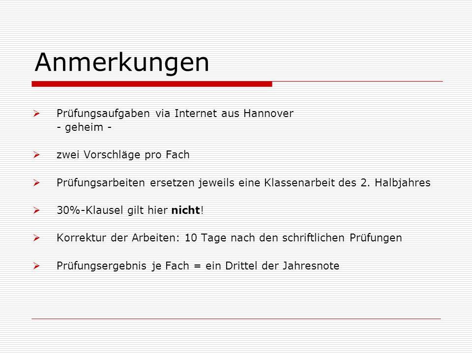 Anmerkungen Prüfungsaufgaben via Internet aus Hannover - geheim - zwei Vorschläge pro Fach Prüfungsarbeiten ersetzen jeweils eine Klassenarbeit des 2.