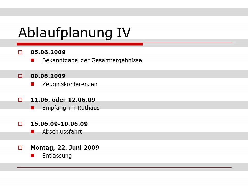 Ablaufplanung IV 05.06.2009 Bekanntgabe der Gesamtergebnisse 09.06.2009 Zeugniskonferenzen 11.06.