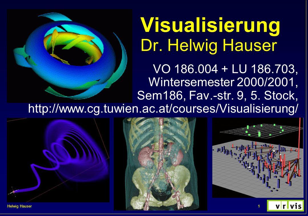 Helwig Hauser 22VisVO 2000/2001, kurzer Auszug Direkte Volumensvisualisierung Überblick: keine Zwischenrepräsentation real 3D Integration von so viel Information: schwierig object-order vs.