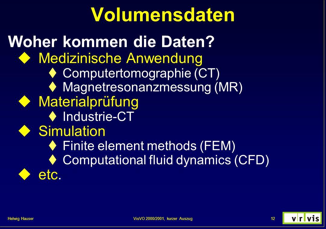 Helwig Hauser 12VisVO 2000/2001, kurzer Auszug Volumensdaten Woher kommen die Daten? Medizinische Anwendung Computertomographie (CT) Magnetresonanzmes