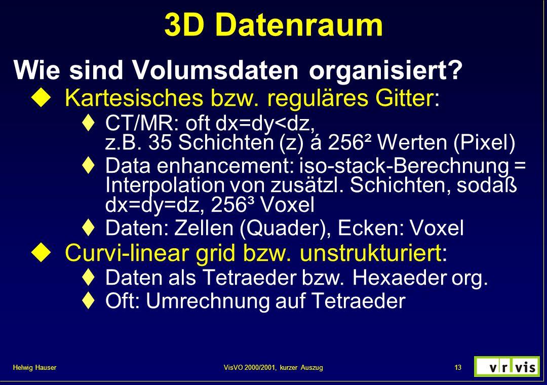 Helwig Hauser 13VisVO 2000/2001, kurzer Auszug 3D Datenraum Wie sind Volumsdaten organisiert? Kartesisches bzw. reguläres Gitter: CT/MR: oft dx=dy<dz,