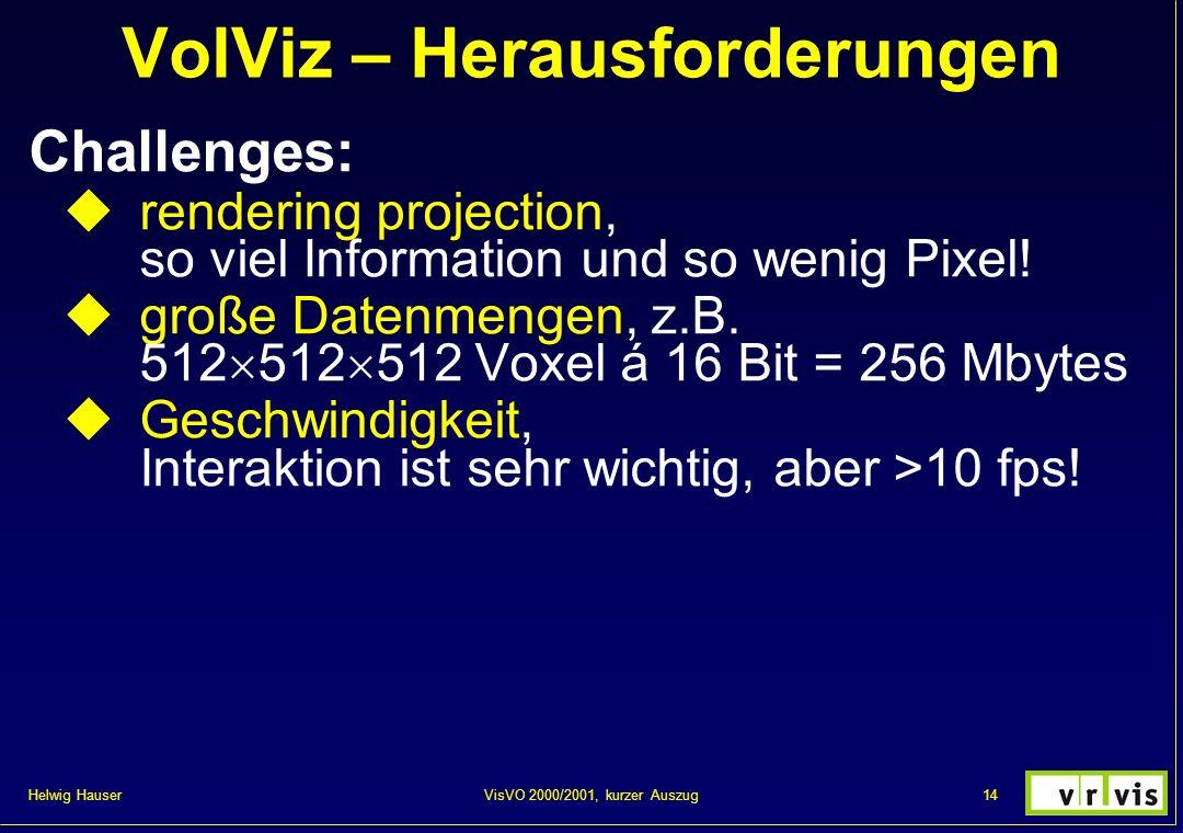 Helwig Hauser 14VisVO 2000/2001, kurzer Auszug VolViz – Herausforderungen Challenges: rendering projection, so viel Information und so wenig Pixel! gr