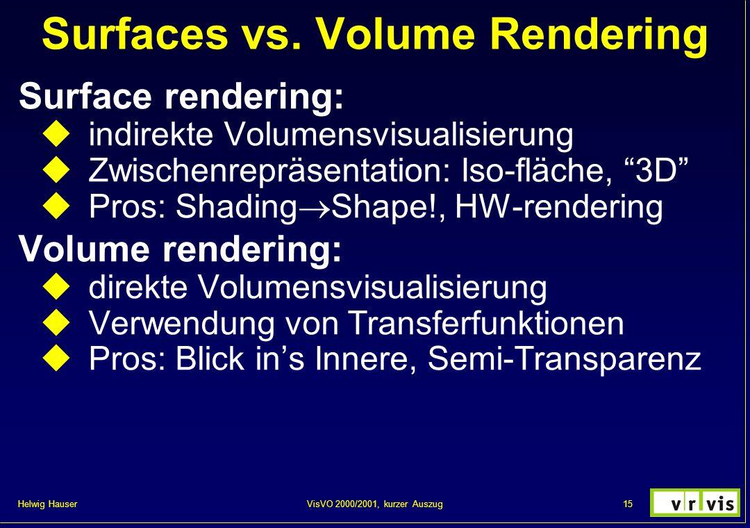 Helwig Hauser 15VisVO 2000/2001, kurzer Auszug Surfaces vs. Volume Rendering Surface rendering: indirekte Volumensvisualisierung Zwischenrepräsentatio