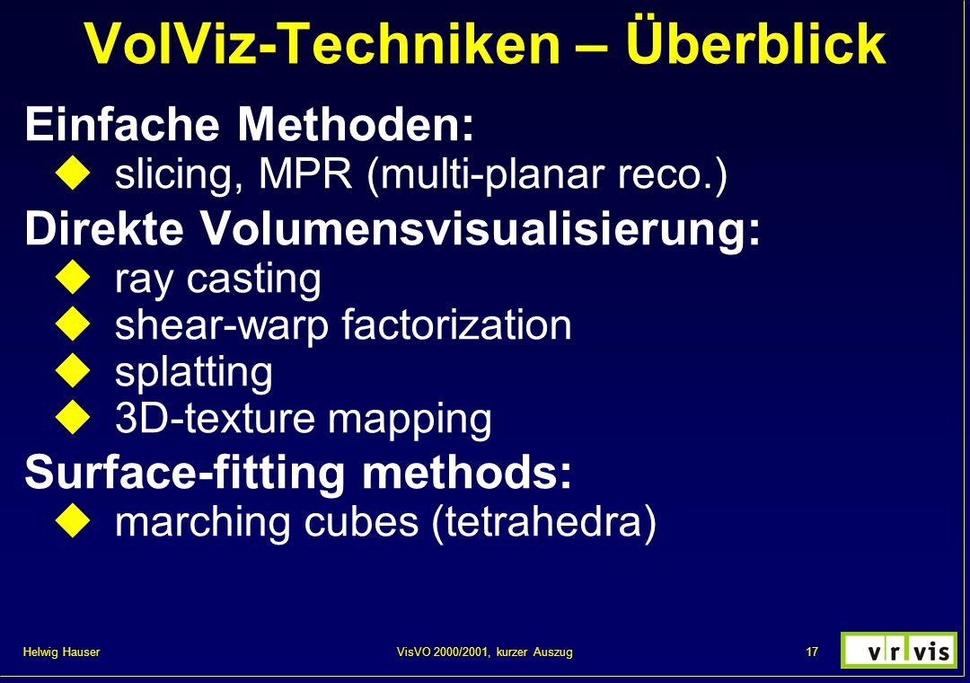 Helwig Hauser 17VisVO 2000/2001, kurzer Auszug VolViz-Techniken – Überblick Einfache Methoden: slicing, MPR (multi-planar reco.) Direkte Volumensvisua
