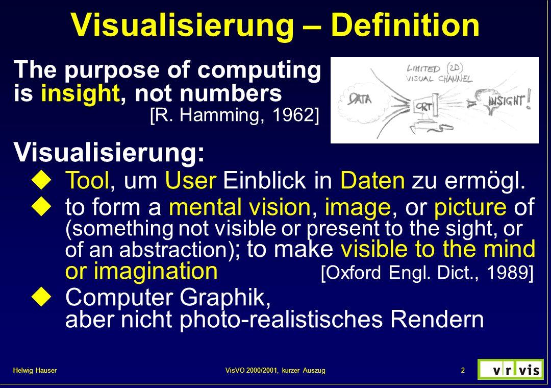 Helwig Hauser 3VisVO 2000/2001, kurzer Auszug Visualisierung – Hintergrund Hintergrund: Visualisierung = sehr alt Oft intuitiver Schritt: graph.