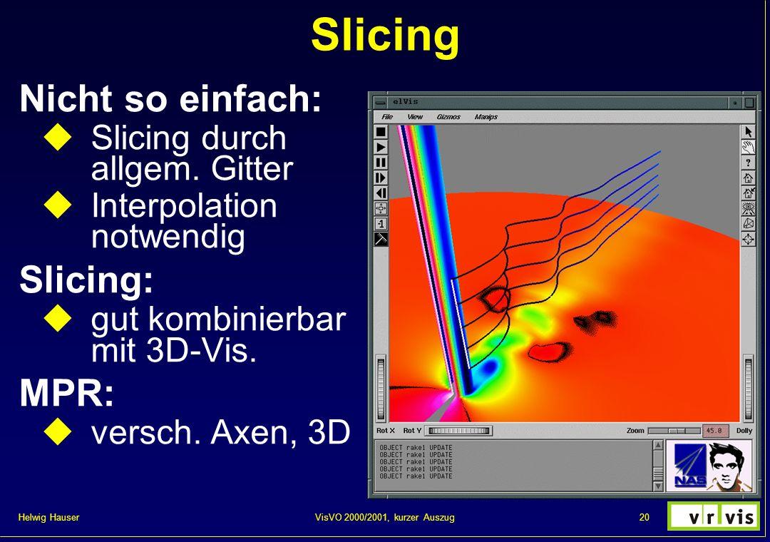 Helwig Hauser 20VisVO 2000/2001, kurzer Auszug Slicing Nicht so einfach: Slicing durch allgem. Gitter Interpolation notwendig Slicing: gut kombinierba