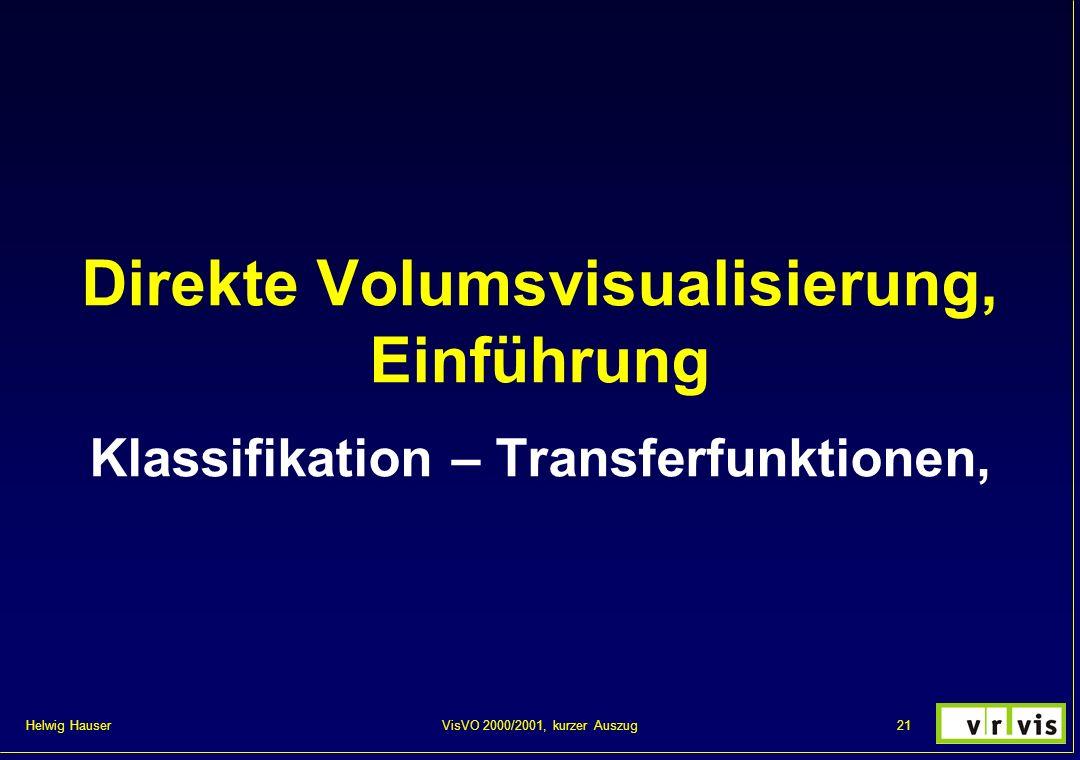 Helwig Hauser 21VisVO 2000/2001, kurzer Auszug Direkte Volumsvisualisierung, Einführung Klassifikation – Transferfunktionen,