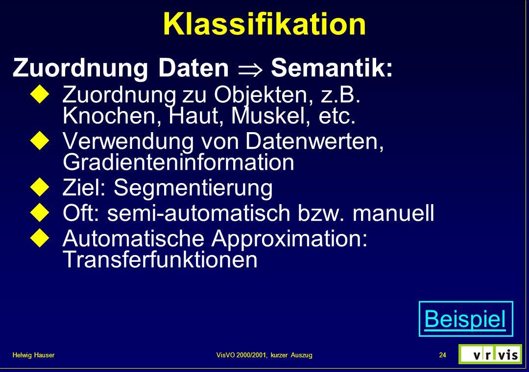 Helwig Hauser 24VisVO 2000/2001, kurzer Auszug Klassifikation Zuordnung Daten Semantik: Zuordnung zu Objekten, z.B. Knochen, Haut, Muskel, etc. Verwen