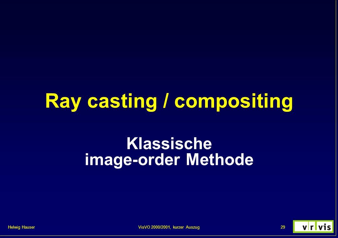 Helwig Hauser 29VisVO 2000/2001, kurzer Auszug Ray casting / compositing Klassische image-order Methode